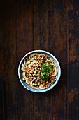 Chinese Dan Dan noodles with pork sauce