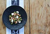 Salmon trout ceviche with pumpernickel dumpling tartare