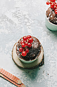 Chocolate mini mug cake with currants
