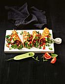 Käse-Tacos mit Hackfleisch und Gemüse