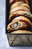 Greek handpies made of phyllo pastry, filled with feta and spinach