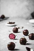 Vegan beetroot pralines with chocolate glaze and sea salt