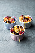 Bread pudding with fresh berries