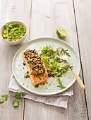 Salmon with an olive topping and avocado cream