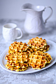Belgian waffles, made from potato dough