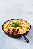 Cheesy lentil and vegetable frying pan lasagne