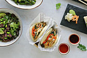 Bao buns with vegetables and quinoa salad