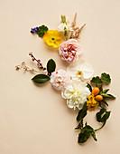 Legebild aus Blüten