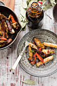 Vegetable roasted in pomegranate molasses