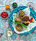Wild garlic fritters with curry ketchup