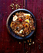 Granola with figs and banana chips