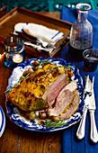 Roast beef, sliced, for Christmas dinner