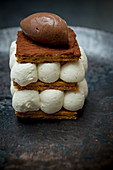Mille Feuille of Milk Cheesecake and Cocoa Sorbet