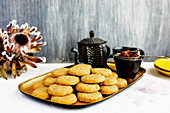 Vanilla biscuits served with rose petal tea