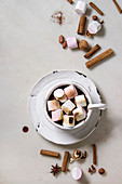 Ceramic cup of hot chocolate with marshmallow s'mores with ingredients above over white marble table