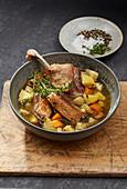 Duck stew with vegetables and thyme