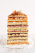 Stuffed panettone with eight savoury layers