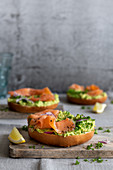 Salmon bagels with avocado cream