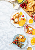 Breakfast waffles with fresh fruits