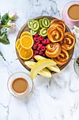 Brioche with custard and fresh fruits