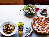 Grilled radicchio and orange salad, Lamb meatballs, risoni, yoghurt and cucumber - Pizza diavolo