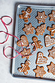 Gingerbread biscuits with sugar icing for Christmas