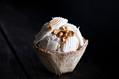 Coconut ice cream served in a coconut shell