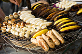Grilled Bananas in a street food stand in China Town area (Bangkok)