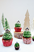Christmas chocolate muffins with creamy green frosting