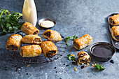 Australian sausage rolls with a BBQ dip and mayonnaise