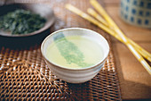Green tea in a tea bowl