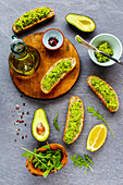 Good fats - avocado toasts and ingredients