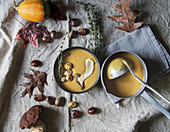 Pumpkin cream soup with sweet chestnuts and porcini mushrooms