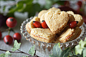 Heart shaped shortbread with rose hip jam