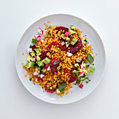 Beetroot and lentil salad with a citrus sauce