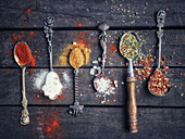 Various spices on old spoons