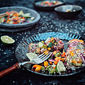 Summer rolls with vegetables and sesame seeds