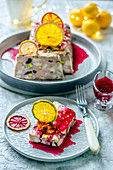 Pork and chicken terrine with pistachios, cranberries, citrus chips and raspberry sauсe