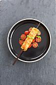 Caprese dumpling skewers with tomato salad