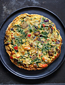 Wild mushrooms, prawns and coriander frittata