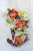 Mushroom saltimboca with fennel and purple potato crisps