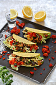 Spicy mushroom tacos with tomato salsa