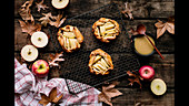 Preparing autumnal spelt and apple galettes with butterscotch sauce