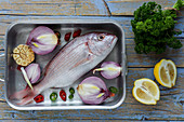 Fresh vegetables and raw fish lying in metal baking pan on lumber tabletop