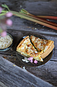 Rhubarb cake with almonds and flowers