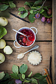 Plum compote and applesauce
