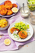 Tuna, potatoes and corn patties