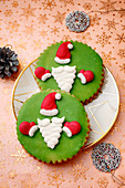 Christmas cookies with santa decorations