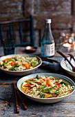 Ramen noodle soup with vegetables (Asia)