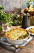 Gardeners Pie (vegetarian vegetable pie with mashed potatoes, England)